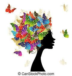 cabeza, hecho, peinado, mariposas, diseño, hembra, su