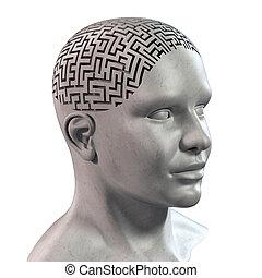 cabeza humana, 3d, laberinto