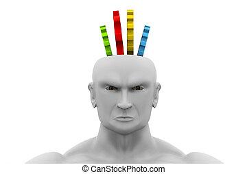 cabeza humana, con, engranajes