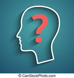 cabeza humana, con, pregunta