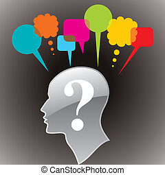 cabeza humana, con, questionmark, símbolo