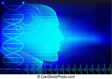 cabeza humana, en, médico, plano de fondo