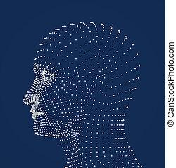 cabeza humana, puntos, modelo
