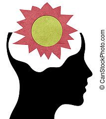 cabeza humana, silueta, con, papel, sol, en, el, cerebro