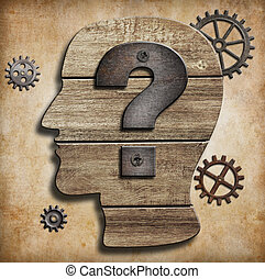 cabeza humana, silueta, con, signo de interrogación,...
