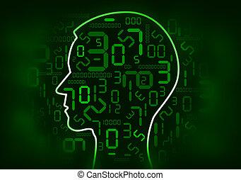 cabeza humana, y, digital, número