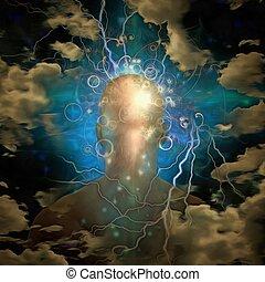 cabeza humana, y, mente