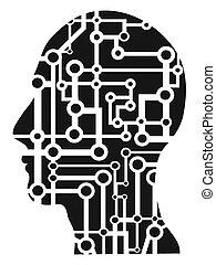 cabeza, humano, circuito