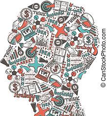 cabeza, humano, iconos