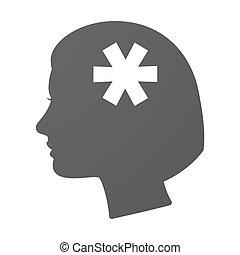 cabeza, icono, asterisco, hembra, isoalted