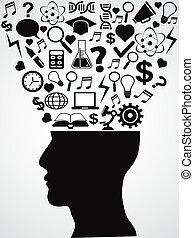 cabeza, ideas, humano, creativo