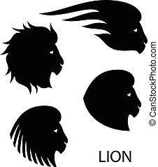 cabeza, -, ilustración, estilizado, león, vector