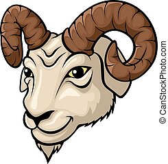 cabeza, ilustración, mascota, carnero