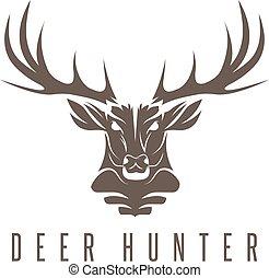 cabeza, ilustración, venado, vector, diseño, caza, plantilla