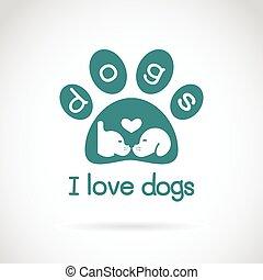 cabeza, imagen, perro, spoor, fondo., vector, diseño, blanco