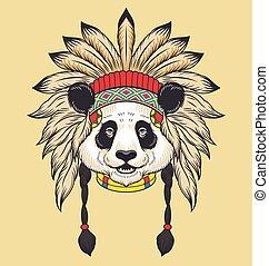 cabeza, indio, panda