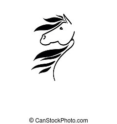 cabeza, línea, caballo, dibujo