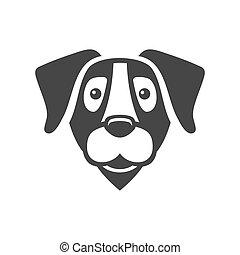 cabeza, labrador, perro, vector, icono, logo., perro cobrador