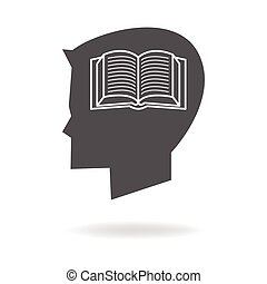 cabeza, libro, niños, icono