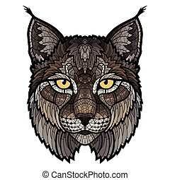 cabeza, lince, wildcat, aislado, mascota