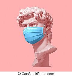 cabeza, médico, rosa, quarantine., coronavirus, máscara, ...