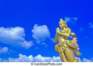 cabeza, mítico, bangkok, hembra, humano, tailandia, pájaro