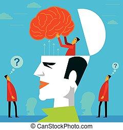 cabeza, mente, prueba, humano