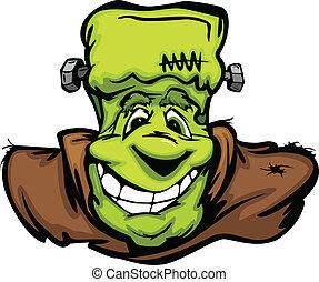 cabeza, monstruo, imagen, halloween, vector, frankenstein, sonriente, expresión, caricatura, feliz