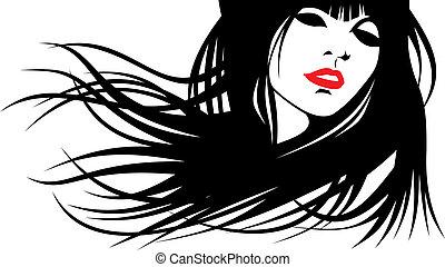cabeza, mujer, estilista, su, pelo, vector), (hair