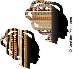 cabeza, mujer, silueta, africano