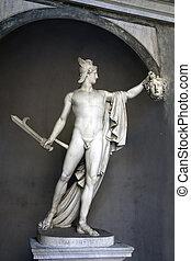 cabeza, museo, -, perseus, roma, tenencia, vaticano, medusa...
