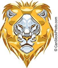 cabeza, oro, plata, metálico, león