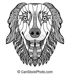 cabeza, perro, zentangle