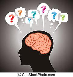 cabeza, pregunta, symbo, humano, marca