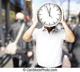 cabeza, reloj, grande, hid, tenencia, cr, frente, retrato, hombre