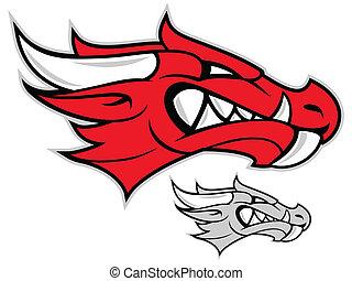 cabeza, rojo, dragón