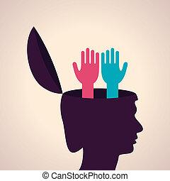 cabeza, símbolo, mano humana