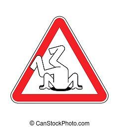 cabeza, sand., signo., atención, problemas, advertencia, precaución, camino rojo, paliza