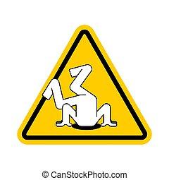 cabeza, sand., signo., atención, problemas, amarillo, advertencia, precaución, camino, paliza