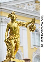 cabeza, santo, estatua, gorgona, perseus, petergof, medusa, ...