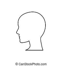 cabeza, silueta, humano