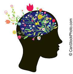 cabeza, silueta, moderno, diseño, niña, flores