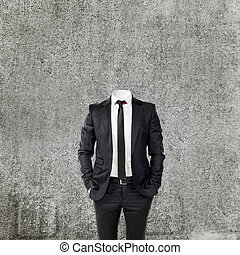 cabeza, sin, hombre de negocios