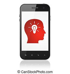 cabeza, smartphone, foco, educación, concept: