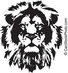 cabeza, tatuaje, león, negro