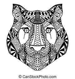 cabeza tigre, bosquejo