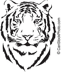 cabeza tigre, en, negro, interpretación