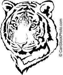 cabeza, tigre, interpretación, negro