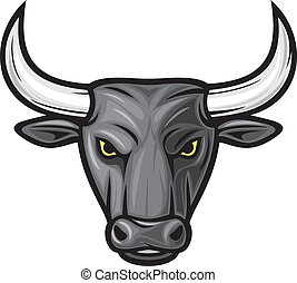 cabeza, toro, negro, bull), (black