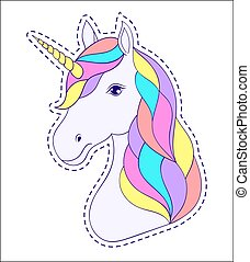 cabeza, unicornio, mano, dibujado